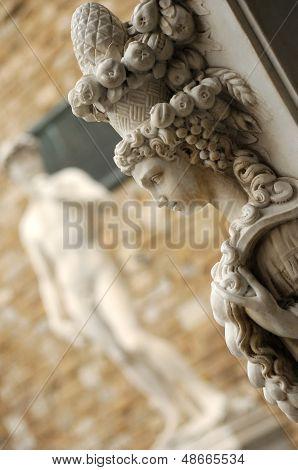 Head Antique Statue With Statue Of David On Piazza Della Signoria In Florence