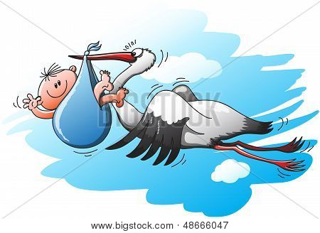 Big and beautiful stork flying to deliver a little kid in a blue bag