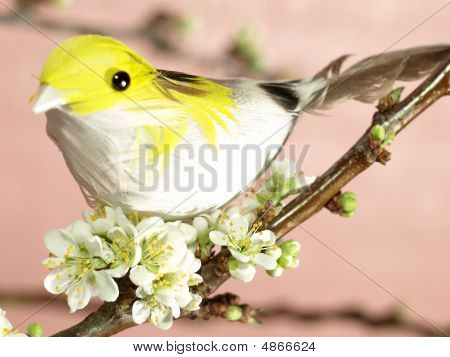 Closeup of a bird on blooming plum-tree branch (not a real bird) poster