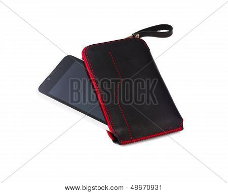 Smartphone In Leather Case Isolated On White