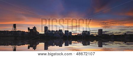 Portland Oregon Downtown Waterfront City Skyline with Hawthorne Bridge at Sunset Panorama poster