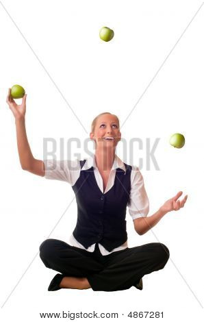 Young Woman Juggles An Apple