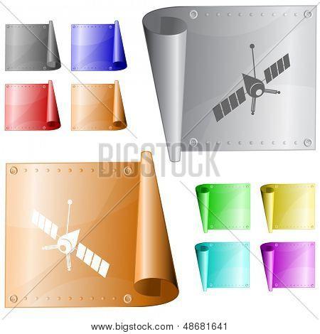 Spaceship. Vector metal surface.