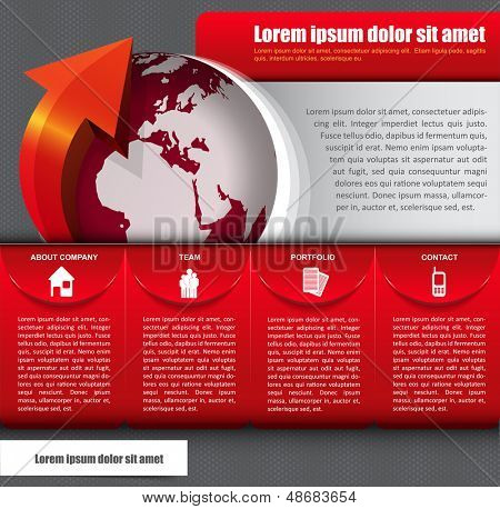 Vector abstract background with icons, globe and a description for company