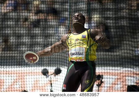 June 14 2009; Berlin Germany. Yennifer Frank CASANAS (ESP) competing in the discus at the DKB ISTAF 68 International Stadionfest Golden League Athletics competition.