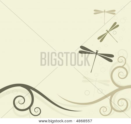 Background With Dragonflies