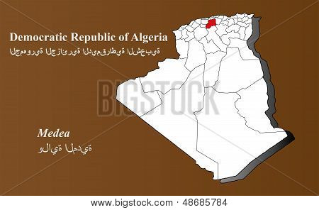 Algeria map in 3D on brown background. Medea highlighted. poster