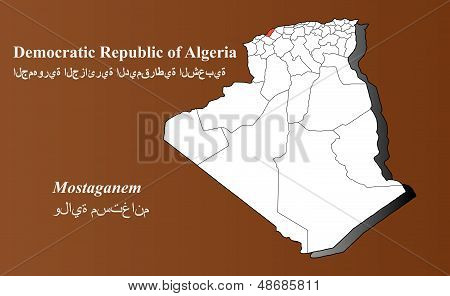 Algeria map in 3D on brown background. Mostaganem highlighted. poster