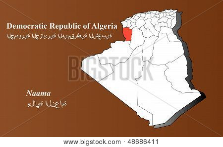 Algeria map in 3D on brown background. Naama highlighted. poster