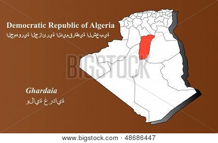 Algeria map in 3D on brown background. Ghardaia highlighted. poster