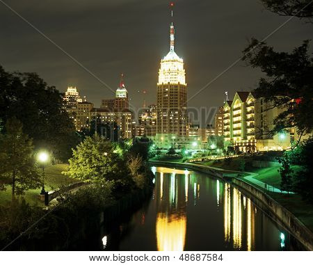Riverwalk at night, San Antonio, USA.