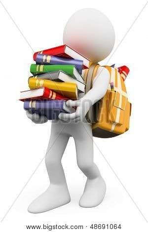 3D White People. Student Carrying A Stack Of Books