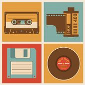 Retro media objects. Vector design elements set. poster