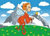 cartoon illustration of a fairy flying in a field with mountain in a background poster