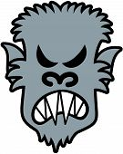 Scary werewolf with sharpen teeth, pointy ears and messy furry while showing how he is furious poster