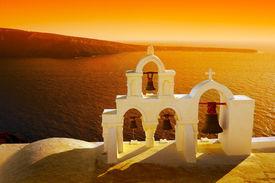 Beautiful Sunset In  Oia, Santorini Island