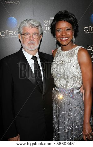 George Lucas and Mellody Hobson at the 40th Annual Daytime Emmy Awards, Beverly Hilton Hotel, Beverly Hills, CA 06-16-13