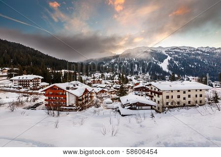 Ski Resort Of Madonna Di Campiglio In The Morning, Italian Alps, Italy