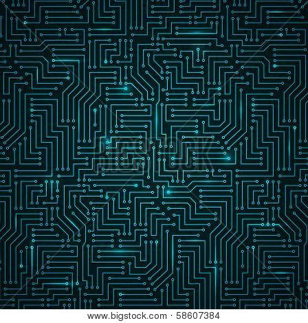 Futuristic Shining Dark Blue Technology Background ??? Printed Circuit Board Seamless with Pattern in Swatches poster