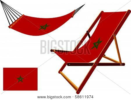 morocco hammock and deck chair set against white background abstract vector art illustration poster