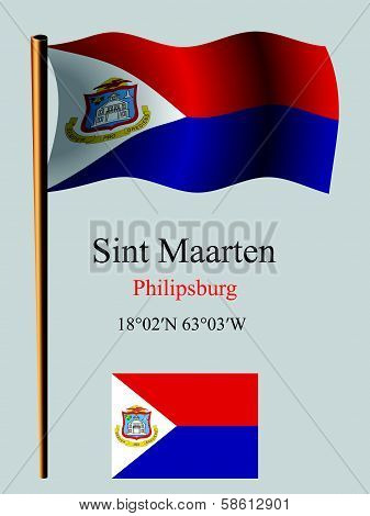 saint martin wavy flag and coordinates against gray background vector art illustration image contains transparency poster