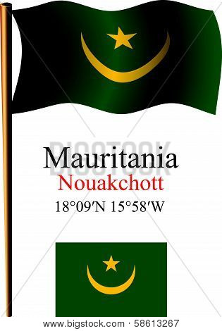 mauritania wavy flag and coordinates against white background vector art illustration image contains transparency poster
