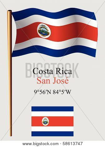 Costa Rica Wavy Flag And Coordinates