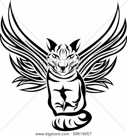 Cat With Wings, Tattoo Stencil.eps