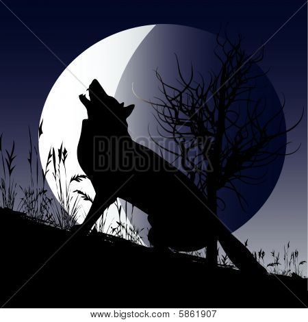 poster of Background illustration with a wolf howling at the moon