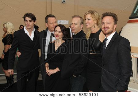 RJ Mitte, Bryan Cranston, Laura Fraser, Bob Odenkirk, Anna Gunn and Aaron Paul at the