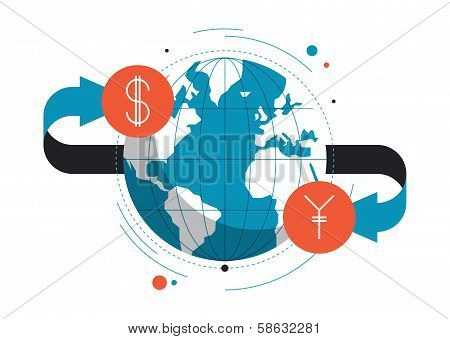 Currency Exchange Flat Illustration Concept
