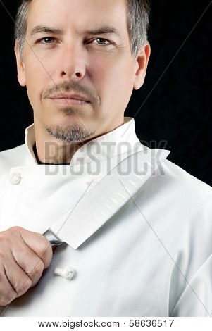 Chef Displays Knife, Portrait