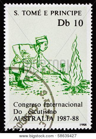 Postage Stamp Sao Tome And Principe 1988 Campfire, Boy Scout Jam