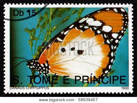 Postage Stamp Sao Tome And Principe 1990 Plain Tiger, Butterfly