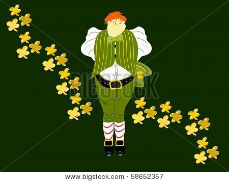 leprechaun large gold clover wave