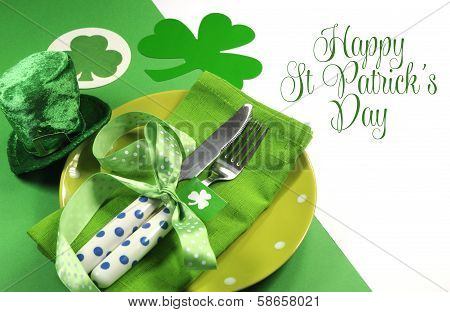 Happy St Patricks Day Table Setting With Shamrocks And Leprechaun Hat And Sample Text Greeting, On G