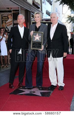 Ryan Murphy, Jane Lynch and Christopher Guest at the Jane Lynch Star on the Hollywood Walk of Fame Ceremony, Hollywood, CA 09-04-13