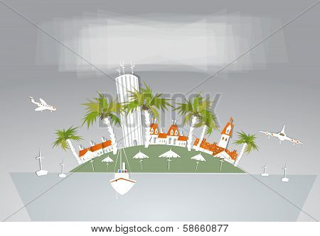 Holiday Island, City and port background