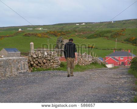 Irish Farmer On Path