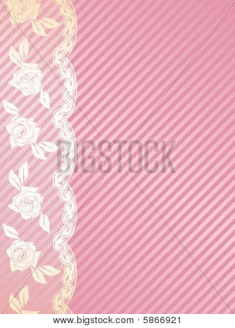 Vertical pink and gold French lace background