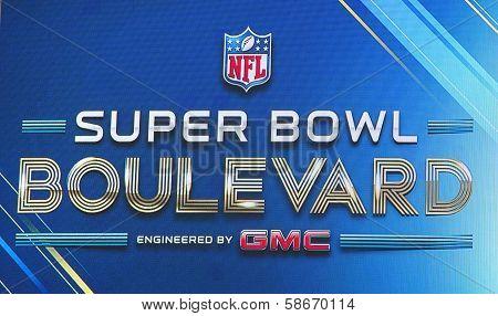 Super Bowl Boulevard billboard on Broadway during Super Bowl XLVIII week in Manhattan