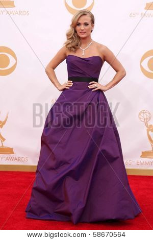 Carrie Underwood at the 65th Annual Primetime Emmy Awards Arrivals, Nokia Theater, Los Angeles, CA 09-22-13