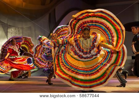 Mexican Dancer Yellow Dress Spreading Spinning