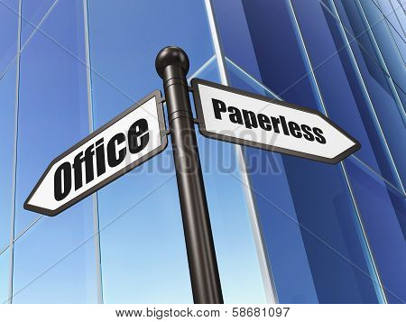 Finance concept: sign Paperless Office on Building background, 3d render poster