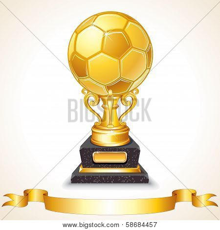 Abstract Golden Soccer Trophy. Vector Illustration