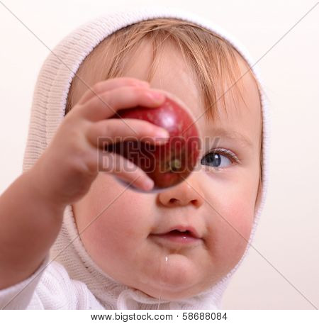 Studying an apple
