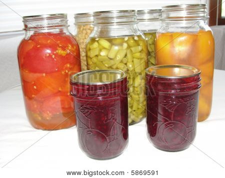 Home Canned Food In Glass Jars