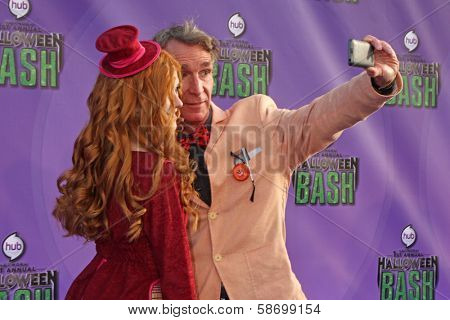 Katherine McNamara and Bill Nye at the Hub Network First Annual Halloween Bash. Barker Hangar, Santa Monica, CA 10-20-13