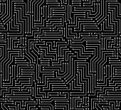 Black and White Printed Circuit Board Seamless Background with Pattern in Swatches poster