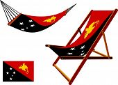 papua new guinea hammock and deck chair set against white background abstract vector art illustration poster